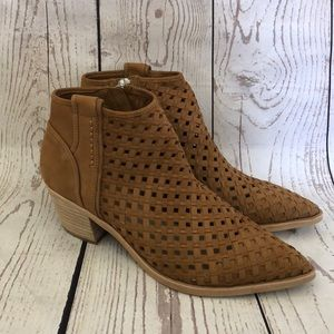 Dolce Vita Brown Leather Block Heel Booties 9.5